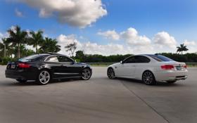 Обои небо, Audi, BMW, черная, белая, RS5