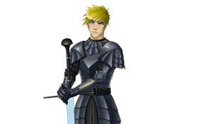 Картинка меч, доспехи, рыцарь, блондин