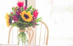 Обои цветы, подсолнух, букет, тюльпаны, ваза