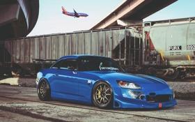 Обои самолет, поезд, honda, хонда, train, plane, hardtop