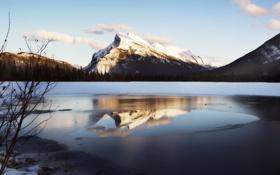 Картинка лед, зима, свет, снег, пейзаж, закат, горы