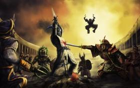 Картинка оружие, войны, арт, самурай, битва, рыцарь, стрелы
