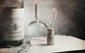 Обои перо, вино, бокал