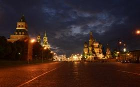 Обои небо, тучи, огни, вечер, брусчатка, Москва, Собор Василия Блаженного