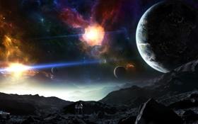Картинка космос, горы, туманность, планеты, художник, автомобиль, hellsescapeartist