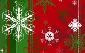 Обои Флаг, Рождество, Снежинки, Ёлка