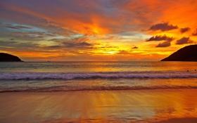 Обои небо, пена, вода, солнце, пейзаж, закат, блики