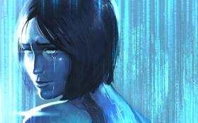 Обои Halo, слезы, арт, Cortana, девушка, взгляд