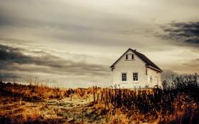 Картинка небо, облака, дом, поля, сельская местность, фермы