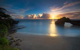 Картинка пляж, скала, океан, рассвет, арка