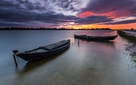 Обои закат, река, Валенсия, Испания, вечер, лодки, Valencia