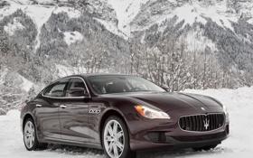 Картинка машина, горы, снег, Maserati, Quattroporte