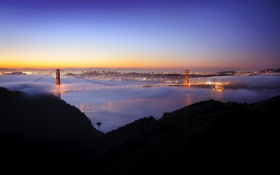 Обои Калифорния, San Francisco, night, usa, ночь, Golden Gate, огни