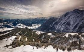 Картинка зима, снег, деревья, горы, вершины, Германия, Бавария