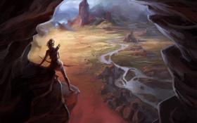Картинка девушка, горы, река, скалы, вид, высота, лук