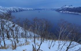 Картинка зима, снег, деревья, горы, природа, озеро, Mashuko