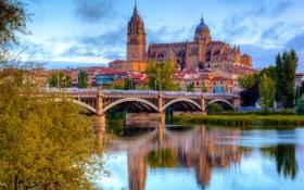 Обои мост, река, дома, City, Испания, Spain, Salamanca
