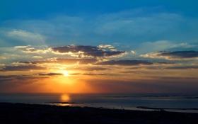 Обои закат, тень, залив, солнце, море