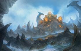 Обои горы, фантастика, скалы, яйца, арт