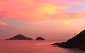 Обои закат, острова, море