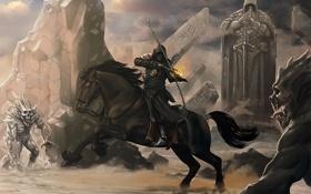 Обои камни, скалы, огонь, конь, лошадь, символы, лук