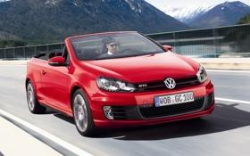Картинка горы, красный, Volkswagen, кабриолет, передок, Golf, GTI