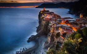 Обои закат, вечер, Италия, городок, Вернацца, провинция Специя
