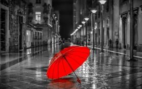 Обои Зонт, город, дорога, красный
