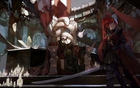 Картинка девушка, оружие, змея, меч, свечи, аниме, арт
