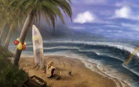 Обои песок, море, волны, пляж, пальмы, бутылка, чайки