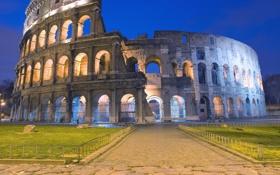 Картинка дорога, архитектура, колизей, италия, рим
