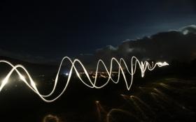 Обои небо, звезды, линии, ночь, отражение, Город