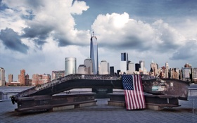 Обои здания, Нью-Йорк, панорама, USA, Манхэттен, Manhattan, New York City