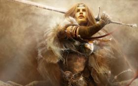 Обои взгляд, украшения, Девушка, меч, доспехи, замах