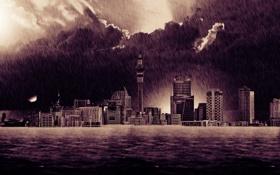 Обои наводнение, дождь, город, небоскрёбы, здания, дома