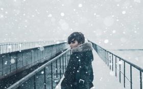 Картинка лед, зима, снег, Девушка, портфель, волга