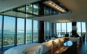 Обои дизайн, стиль, интерьер, балкон, пентхаус, мегаполис, жилая комната