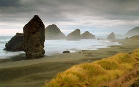 Обои песок, трава, камни, побережье, Море