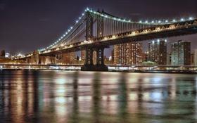 Обои ночь, мост, город, огни, NYC, Manhattan Bridge