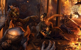 Обои ночь, дом, пожар, огонь, ребенок, меч, защита