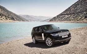 Обои машина, берег, внедорожник, Land Rover, Range Rover, красивый