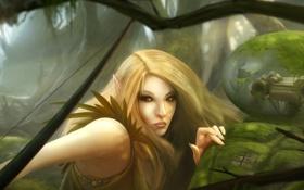 Картинка лес, девушка, эльф, робот, мох, лук, арт