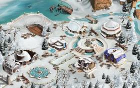 Картинка зима, природа, домики, поселение