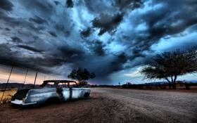 Картинка дорога, машина, пейзаж, ночь