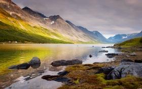 Картинка море, пейзаж, горы, Норвегия
