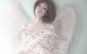 Картинка целлофан, слеза, девушка, кровь, ангел, арт, крылья
