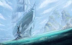 Обои арт, dota 2, admiral, kunkka, корабль, море