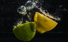 Обои пузырьки, лайм, вода, обои, лимон