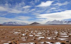 Картинка небо, облака, снег, горы, растительность, пустыня