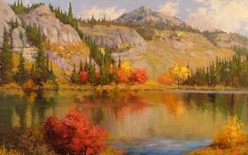 Обои осень, облака, деревья, пейзаж, природа, озеро, гора